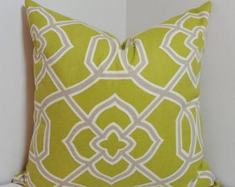 SPRING FORWARD SALE Chartreuse Lime Grey Geometric Pillow Cover Decorative Throw Pillow 18x18