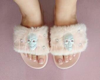 Pink Fur Skull Slides