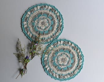 "Crochet Doily Pair - Mint Green and Taupe - Medium 7 1/2"" - Set of 2"