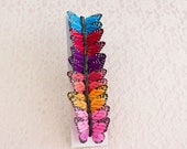 NEW ITEM! Dark Rainbow Feather Butterflies 12 Monarch Butterflies 2 Inch Wingspan / Colorful Butterflies / Party / Bridal / Hair / Bouquets