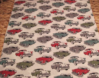 """14"""" x 14"""" PILLOW COVER - Classic Chevys and Ford Bicolor Automobile Cars from the 1950's"""