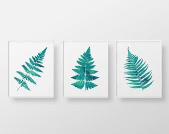 Printable art, watercolor leafs, botanical illustration - Set of three 3 teal peacock green fern leaf prints, Instant download printables