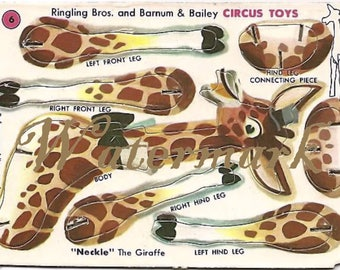 Vintage Ringling Bros and Barnum & Bailey Circus Toy Cut out Digital Download Printable Image for DIY Neckle Giraffe
