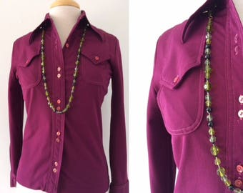 70s Polyester Shirt // Burgundy Blouse // Big Collar WESTERN Button Front Top //