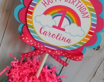 Rainbow Cake Topper, Rainbow Smash Cake Topper, Rainbow First Birthday, Rainbow Party Decorations, Rainbow Birthday Party