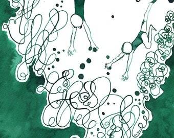 Swimming art. Original illustration. Original wall art. Green art. Original drawing. Ink painting. Original artwork