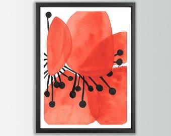 Red flower print. Abstract flower art. Red art print. Flower illustration. Modern Art Print. Contemporary wall art. Modern art decor