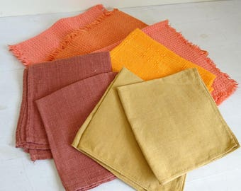 Vintage Orange Brown Napkins and Tablemats, Mixed Set x 8