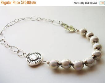 MEGA CLEARANCE Romantic Asymmetrical Artisan Necklace - Beaded in Silver and White