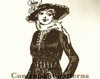 1915 Bolero waist jacket sewing pattern. Shorter in front, and with a gathered waist. Buttoned at the necklineand the cuffs.