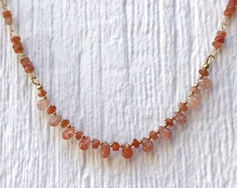 Orange Necklace - Sunstone Gemstone Jewelry - Gold Jewellery - Wire Wrapped - Luxe - Statement