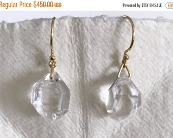 Summer Sale Herkimer diamond quartz crystal and solid 18k gold earrings