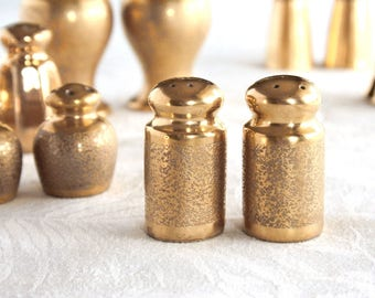 Gold salt and pepper shakers, all over gold, Picard gold, lusterware, vintage salt and pepper, gold porcelain