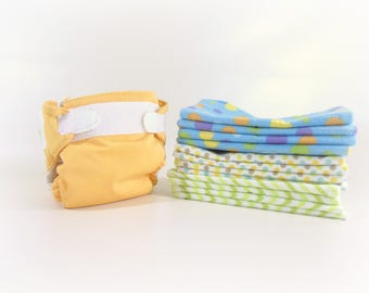 Cloth Wipes, Washcloths, Burp Cloths, Handkerchiefs in Dots and Chevrons Set of 12