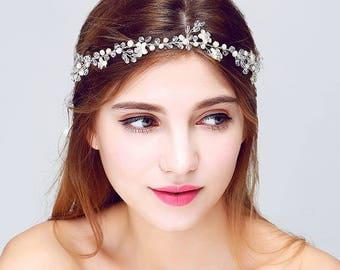 Silver Leaf Vine Bridal Headpiece. Boho Delicate Crystal Pearl wedding Wreath. Blush Halo Headband. Rhinestone Floral Hairpiece