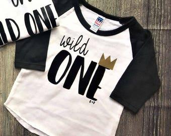Wild One Raglan, Shirt or bodysuit / Wild One Shirt / family photos, birthday shirt, where the wild things are, wild things, wild one