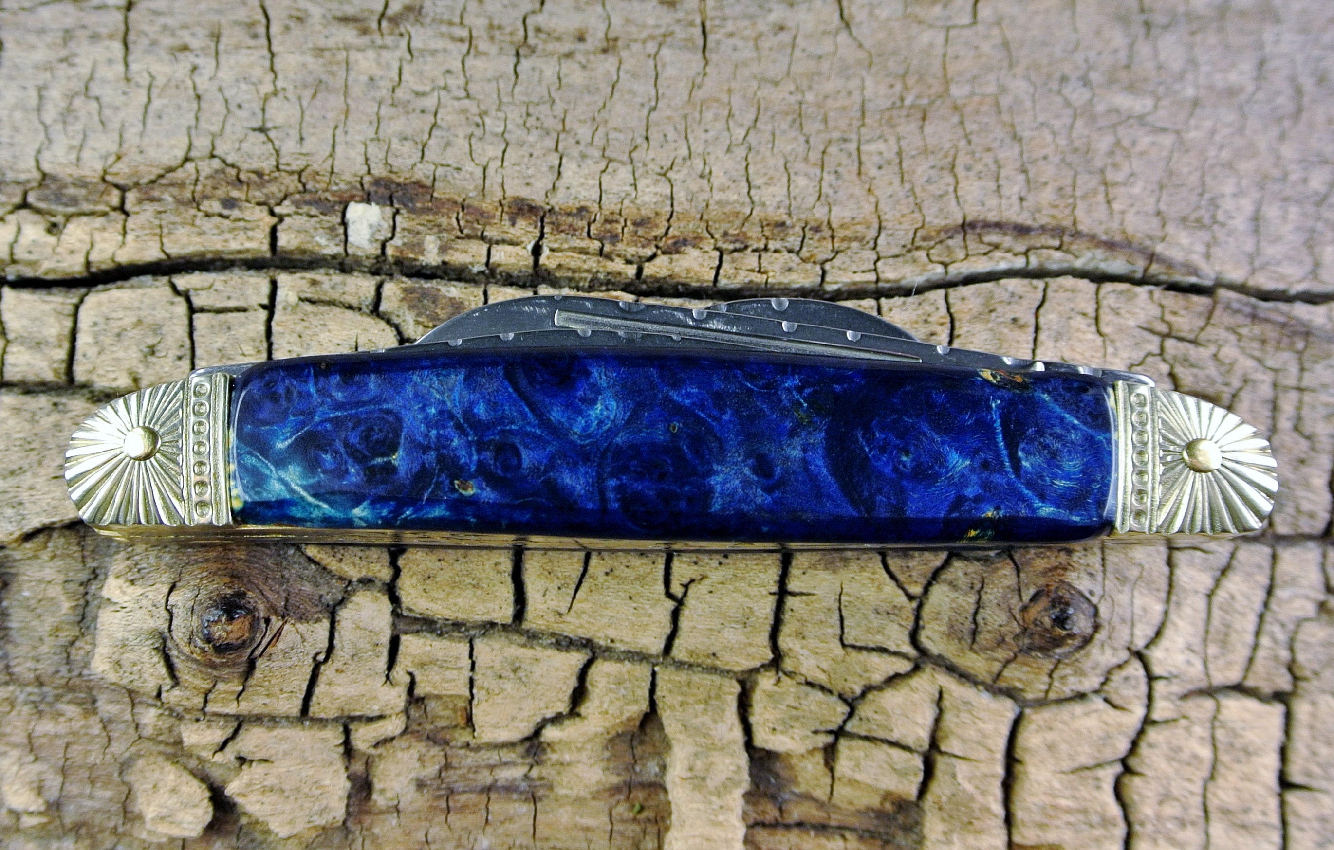 Pocket Knife With Wood Handle Box Elder Burl Dyed Blue