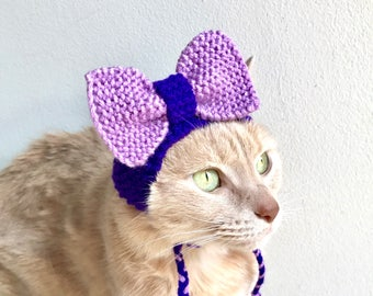 Purple Bow Hat For Cats - Hand Knit Cat Party Hat - Purple Cat Costume - Knit Pet Hat With a Bow (READY TO SHIP)