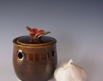 Ceramic, wheel thrown garlic jar- brown with dark pink flower handle