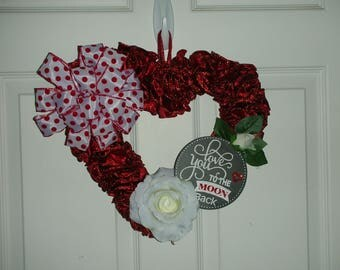 Heart wreath - Red Ribbon with Rose accents and bow - Love you to the Moon and Back - Anniversary or Valentine's Day