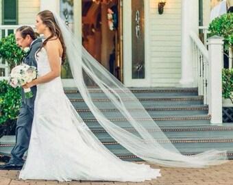 Long wedding veil,chapel length veil, chapel length wedding veil