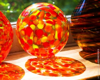 Blown Glass Float with Large Transparent Hot Color Dots - Smaller Second