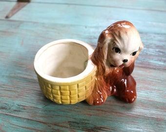 Sweet Puppy Planter, Succulent Planter, Vintage Planter, Dog Figurine, Dog Decor, Cocker Spaniel