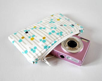 Women's metallic silver protective gadget padded camera make up cosmetics pouch abstract line spot print in mustard, blue and white.