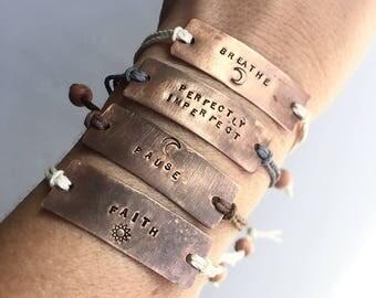 Wearable Reminders. Adjustable Copper Inspirational Bracelet.