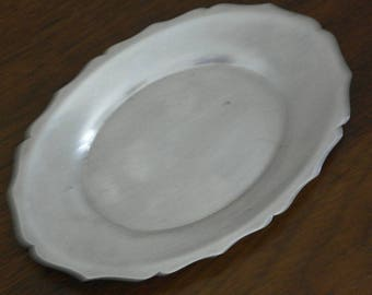 antique silver plate small oval tray