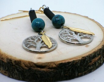 Boucles d'oreilles Arbre de Vie, boucles d'oreilles plume, bijoux plume or, Tree of life earrings, feather earrings, green errings
