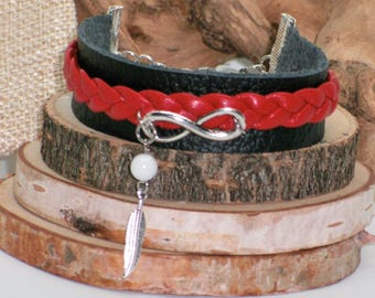Bracelet Métis //infini symbole//cuir récupéré noir et rouge//plume//#EtsyCa150+/native black bracelet/leather upcycled/feather/wrap braclet