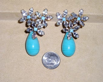Vintage Spectacular Marquise Cut Rhinestone Clip On Earrings With Robins Egg Blue Tear Drop Glass Dangles 1960's Jewelry 115