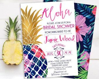 hawaiian bridal shower invitations