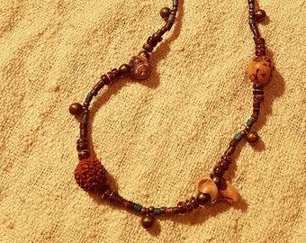 Tribal Necklace Shells Earthy Jewelry Rudraksha Seashells Bohemian Jewellery Sea Natural Coconut Wood Bells Brass Beads Festival Boho Gypsy