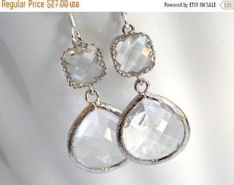 SALE Glass Earrings, Crystal Earrings, Clear Earrings, Transparent, White, Silver, Bridesmaid Earrings, Bridal Earrings, Bridesmaid Gifts