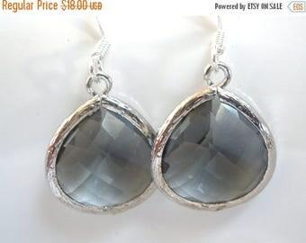 SALE Gray Earrings, Grey Earrings, Drop, Dangle, Silver Earrings, Charcoal, Bridesmaid Earrings, Bridal Earrings Jewelry, Bridesmaid Gift