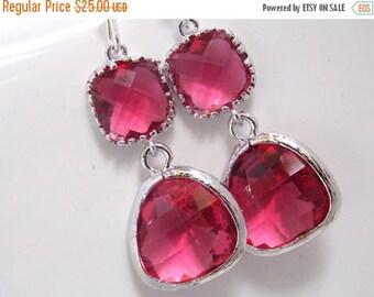 SALE Glass Earrings, Fuschia Earrings, Fuchsia Earrings, Pink Earrings, Wedding, Bridesmaid Earrings, Bridal Earrings Jewelry, Bridesmaid Gi