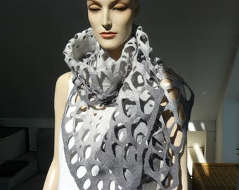 Felted Scarf merino wool silk Hand made felt shawl - Grey scarf
