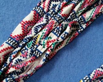 Southwestern Mosaic Recycled T-shirt Fabric Necklace - upcycled tshirt necklace tarn tshirt yarn