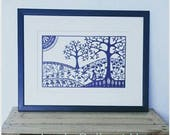 REDUCED from 90GBP to 75GBP - 'Breathe' - an original hand cut paper cut by Loula Belle at Home