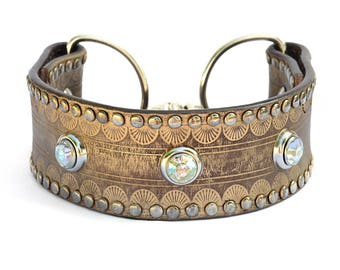 """Gold Leather Martingale Dog Collar, Leather Greyhound  Gold Collar, One of a Kind Dog Collar, Made in USA, Size Medium 12"""" - 14"""" inches*"""