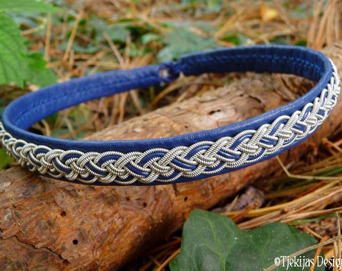 Viking Necklace for Shieldmaidens NIFLHEIM Sami Blue Leather Choker Collar with Pewter Braid - Custom Handmade to Your Wishes