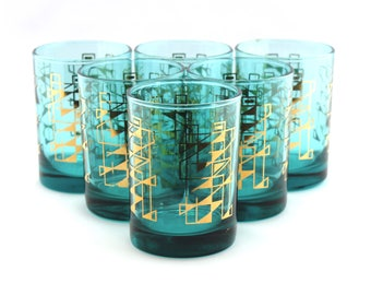 Set of Six Vintage 1950's Drinking Glasses in Kingfisher Blue with a Gold Geometric Pattern