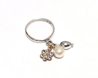 A White Wedding - Sterling Silver Charm Dangle Ring