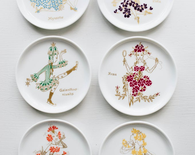 Mid Century Botanical Plate Set // Furstenburg // Bohemian Home Decor // Ballet // Flowers // Portrait Art