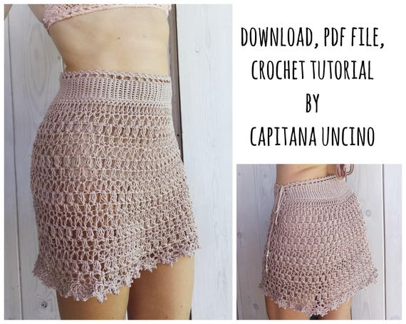 PDF-file for Crochet PATTERN, Alfreda Skirt, 4 different Sizes: XS ...