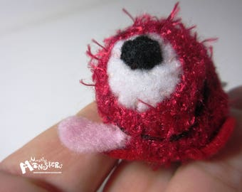 THUMBKIN Red Monster;Fuzzy Red Monster; kawaii toy;tiny knit toy; pocket plushie; Thumbkin toy; repurposed gloves; Red Fuzzy Monster Toy