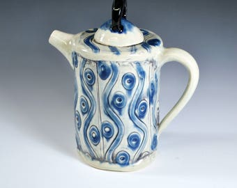 Handmade Ceramic Teapot,  Blue Teapot, Wheel thrown teapot, Unique Teapot