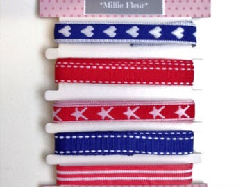 Patriotic Ribbon, New, Tape, Red, White, Blue, Hearts, Heart Ribbon, Stars, Stripes, UK Supplier, Gifts, Floristry, Crafts